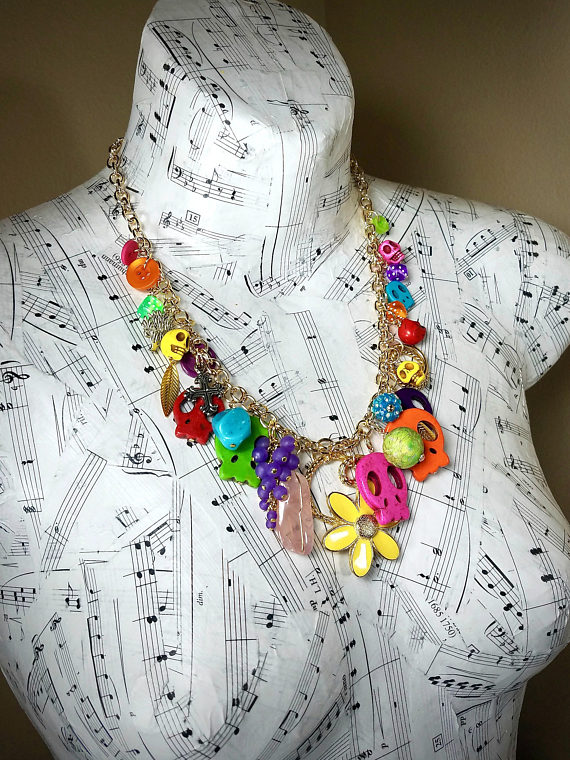 Day of the Dead skull necklace with upcycled charms