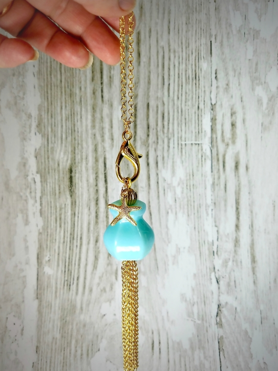 upcycled glass knob necklace in gold