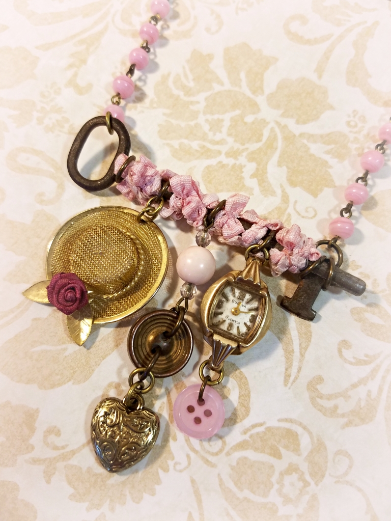 Upcycled antique key necklace with vintage charms