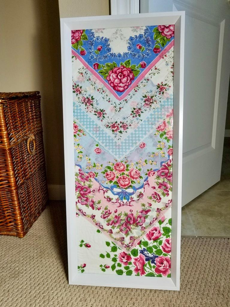 Framed Vintage Handkerchiefs