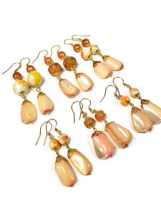 Peach dangle earrings, bridesmaid set of 6