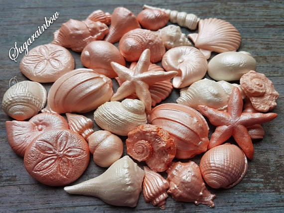 shell wedding cake decorations