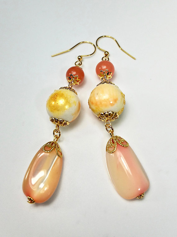 peach dangle earrings