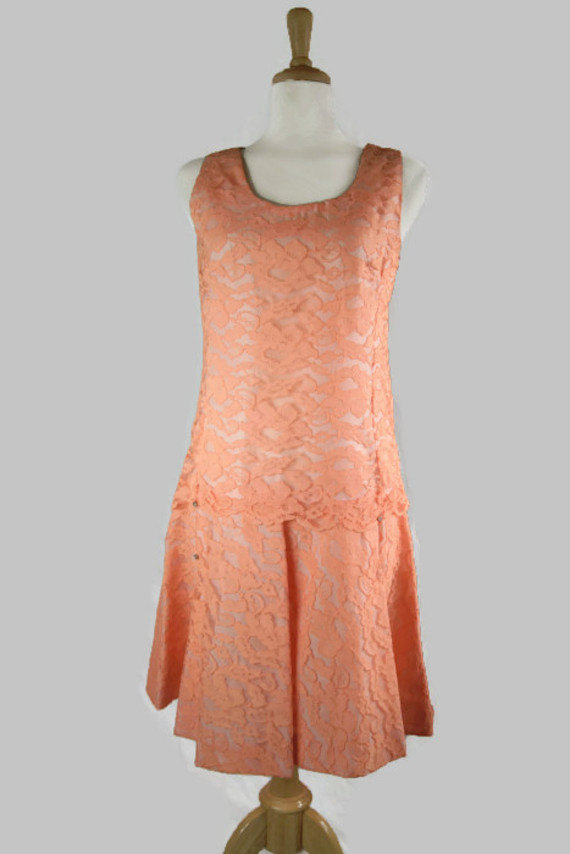 vintage peach lace dress