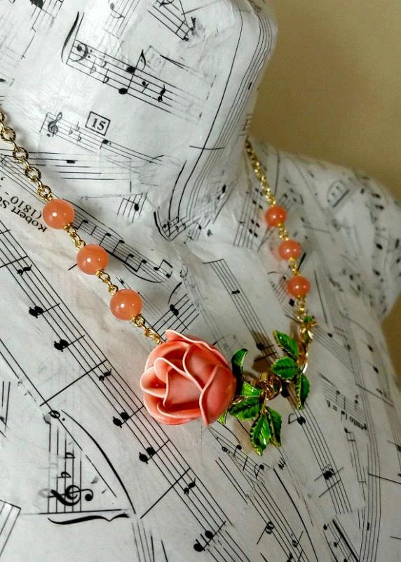 vintage coral rose necklace