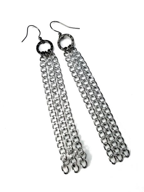 Mixed metal tassel shoulder duster earrings