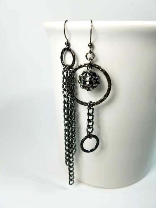 Edgy asymmetrical gunmetal dangle earrings