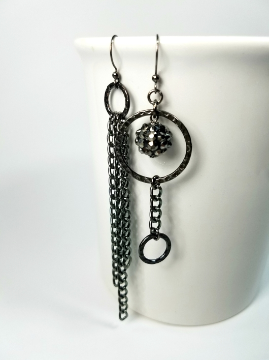 Edgy asymmetrical gunmetal dangle earrings