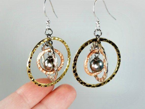 Handmade twirly mixed metal dangle earrings