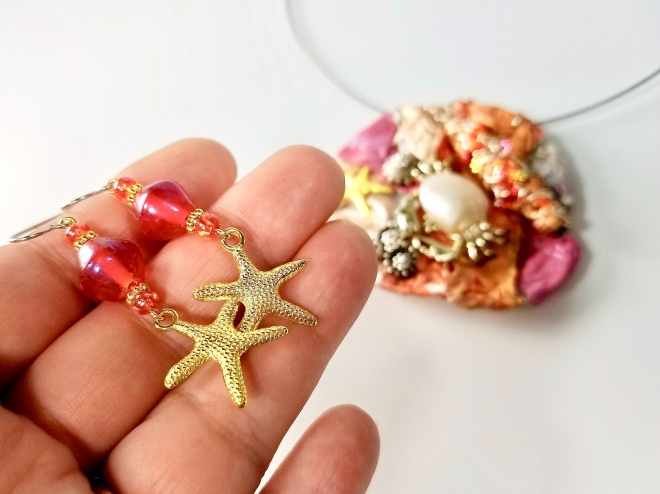 Starfish earrings with matching sea life necklace