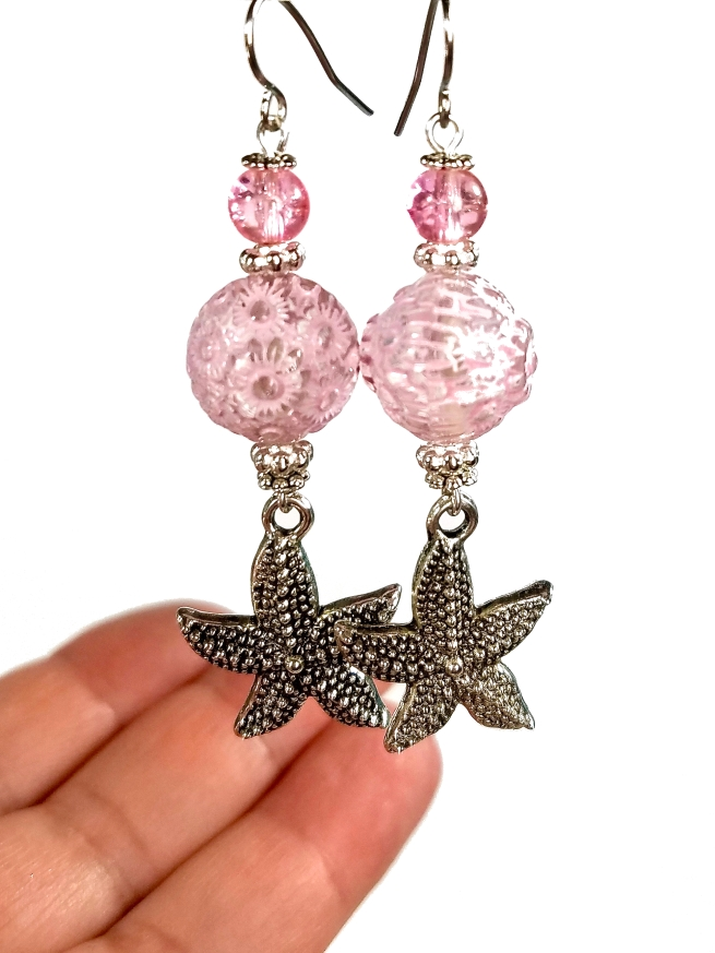 Pink Sea Urchin Starfish Dangle Earrings