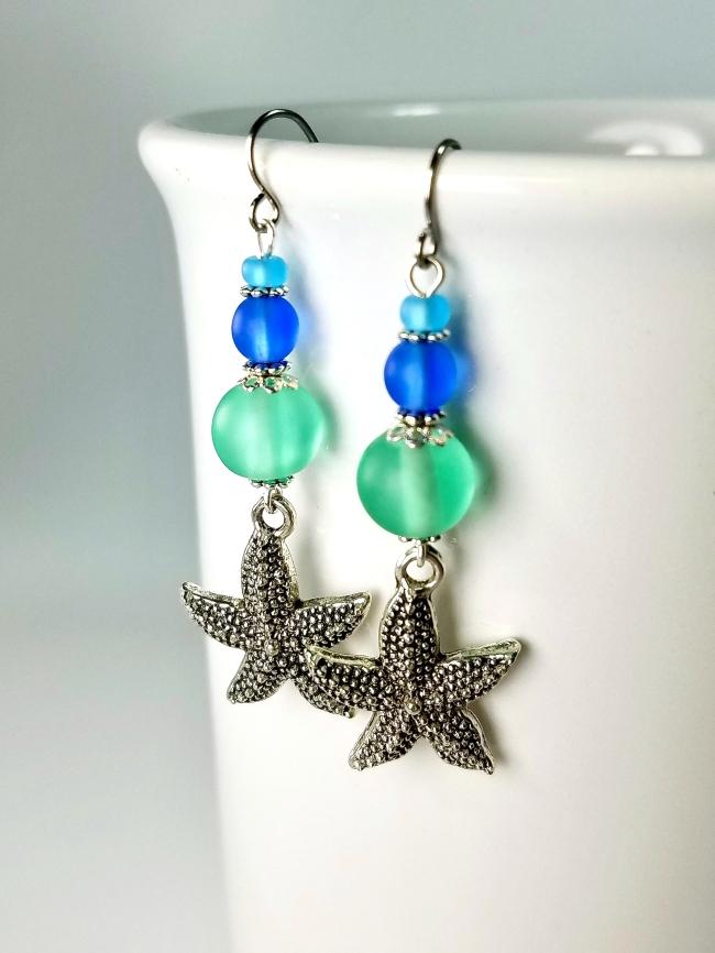 aqua blue starfish dangle earrings