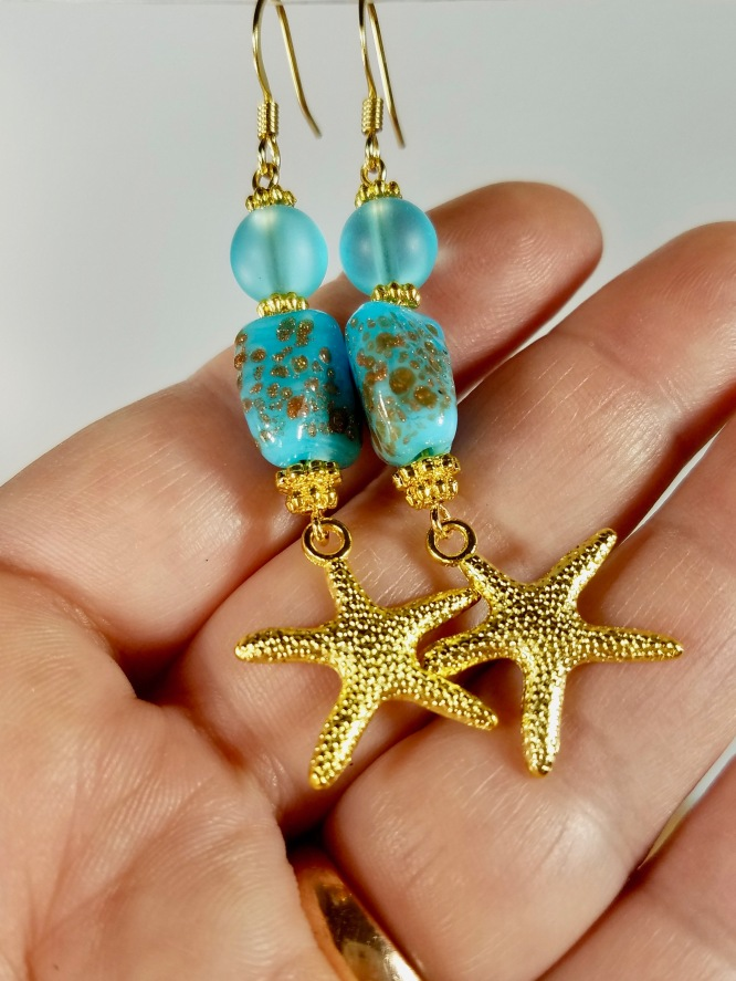 starfish dangle earrings turquoise