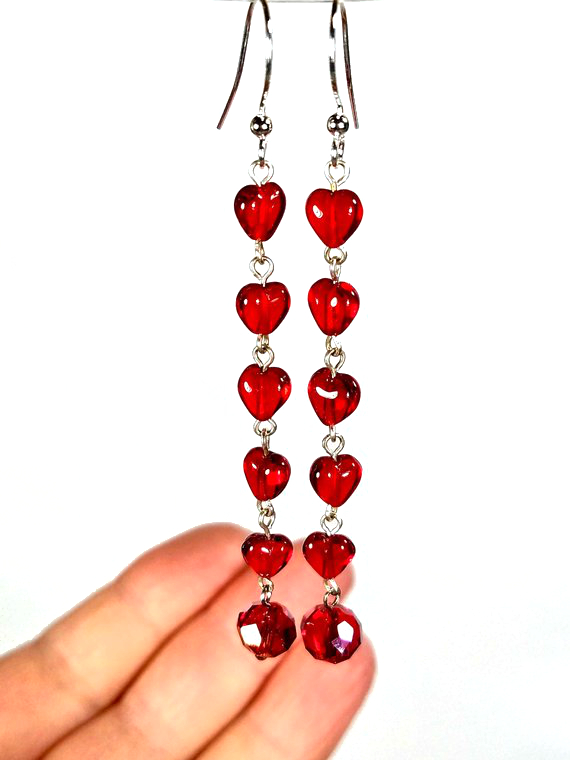 Heart earrings made from an old Rosary