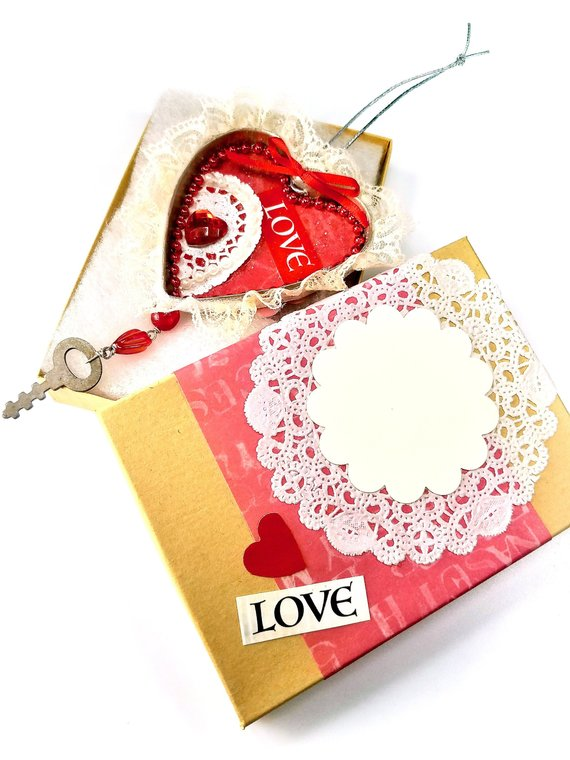 Vintage heart ornament and box