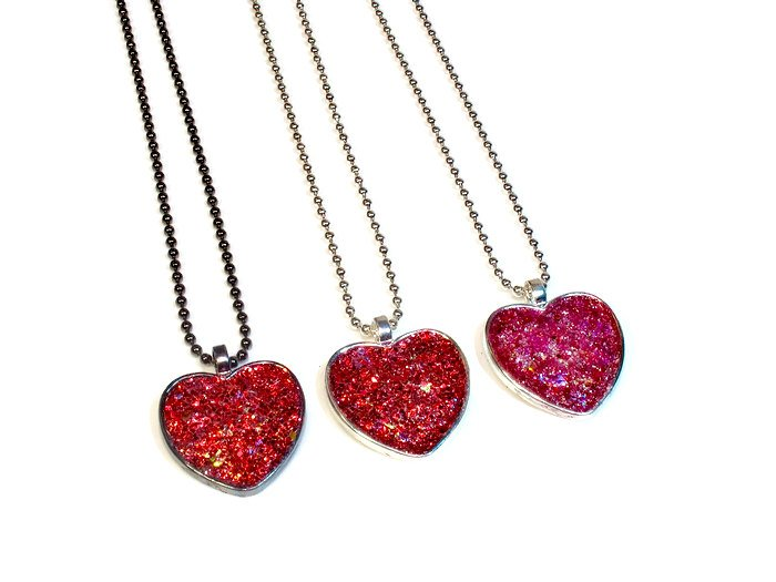 Sparkly heart necklaces