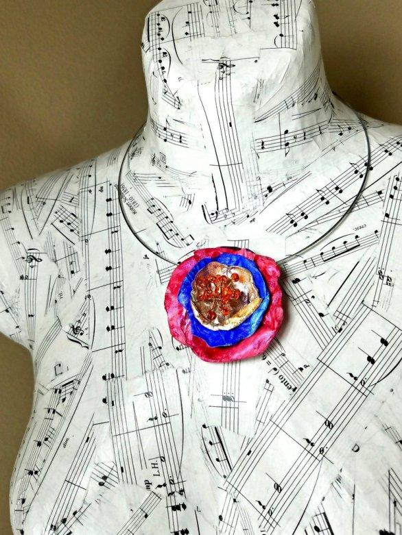 art jewelry poppy necklace