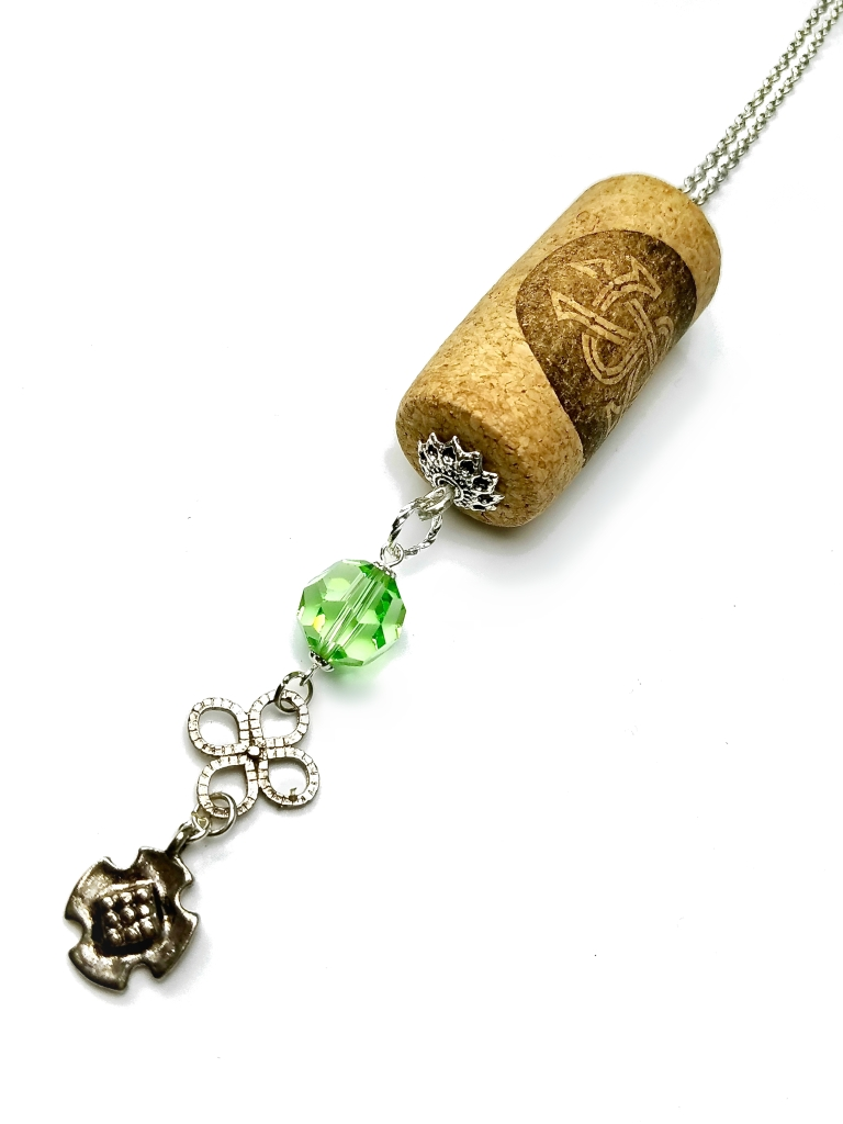 Celtic white wine cork necklace