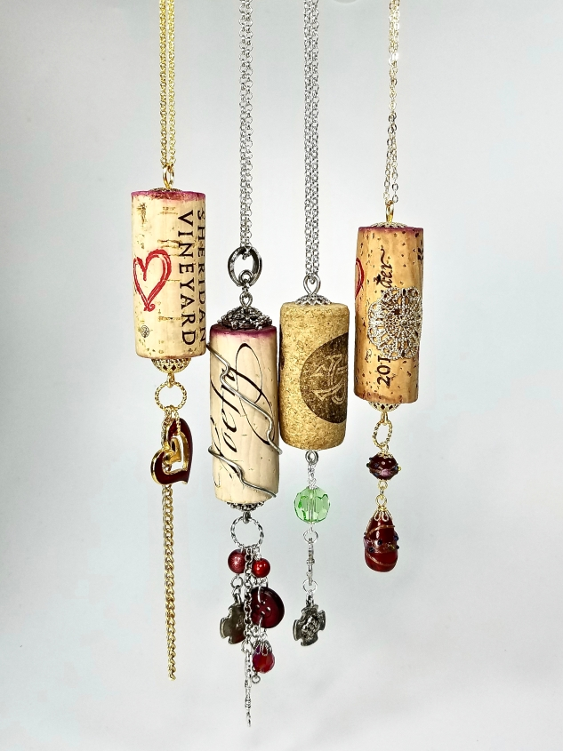 Upcycled wine cork necklace pendants