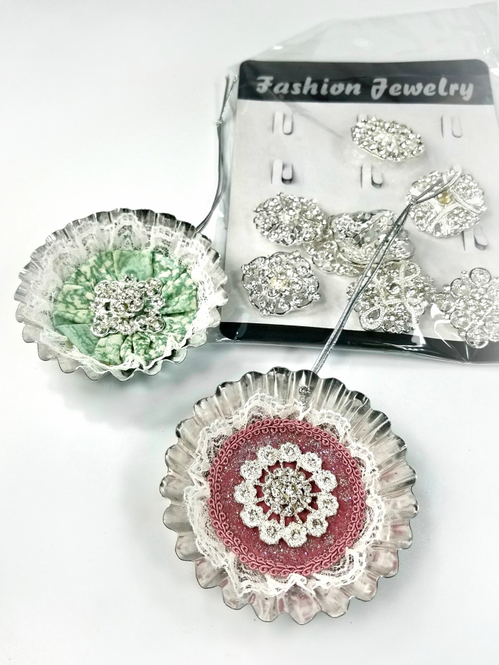 DIY tart tin ornaments with rhinestones