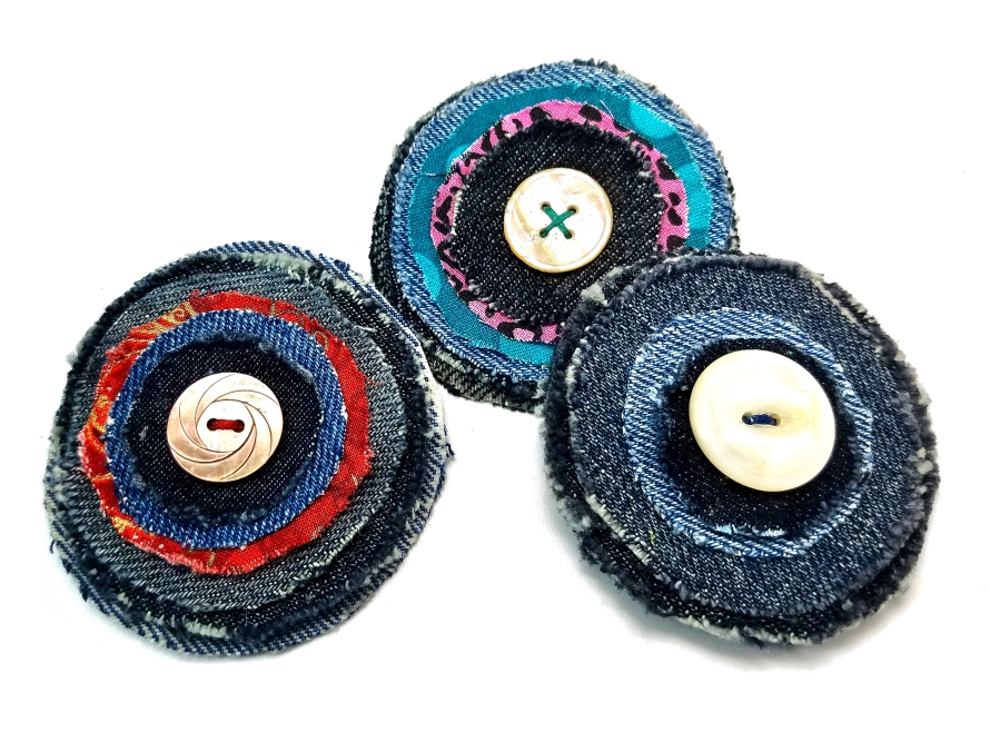 layered denim fabric brooches