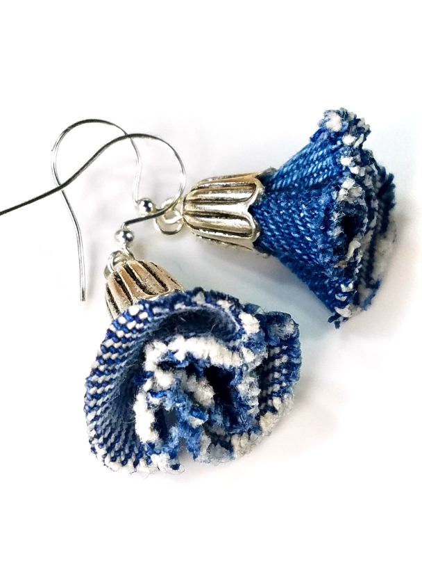 bluebell denim flower earrings