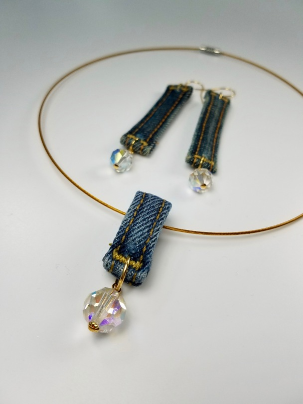 belt hoop earrings and pendant jewelry set