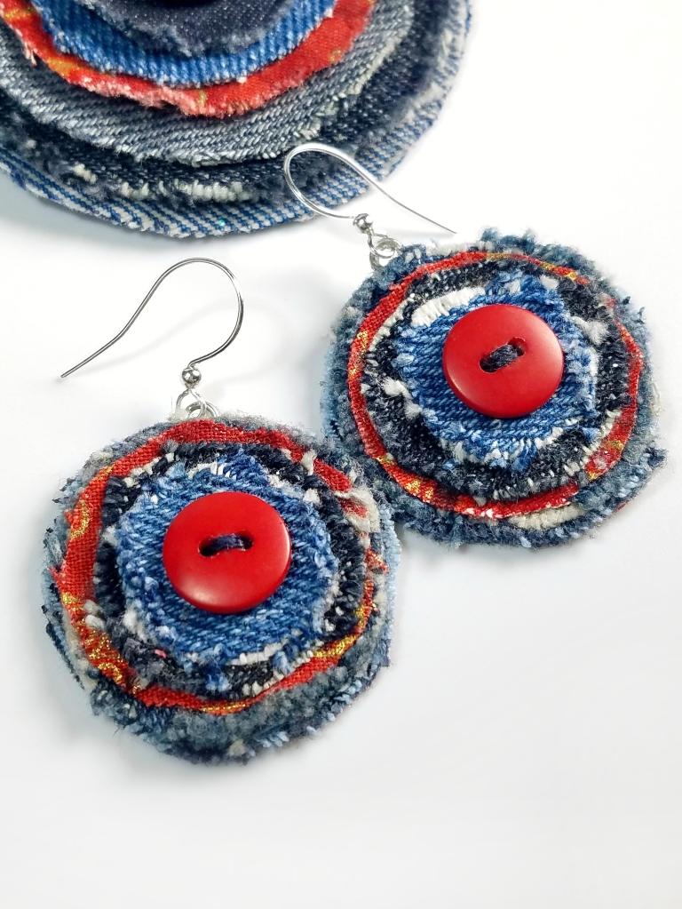 artsy red denim circle earrings