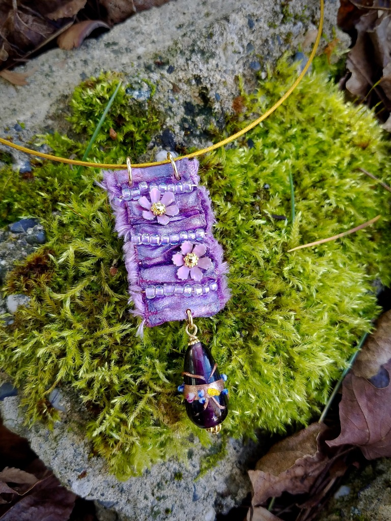Boho flower necklace pendant in purple