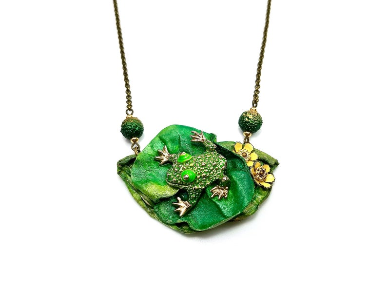 upcycled frog necklace