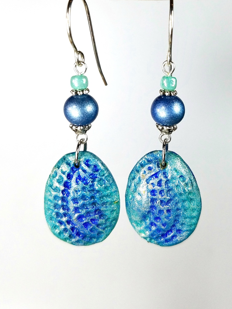 blue clay earrings