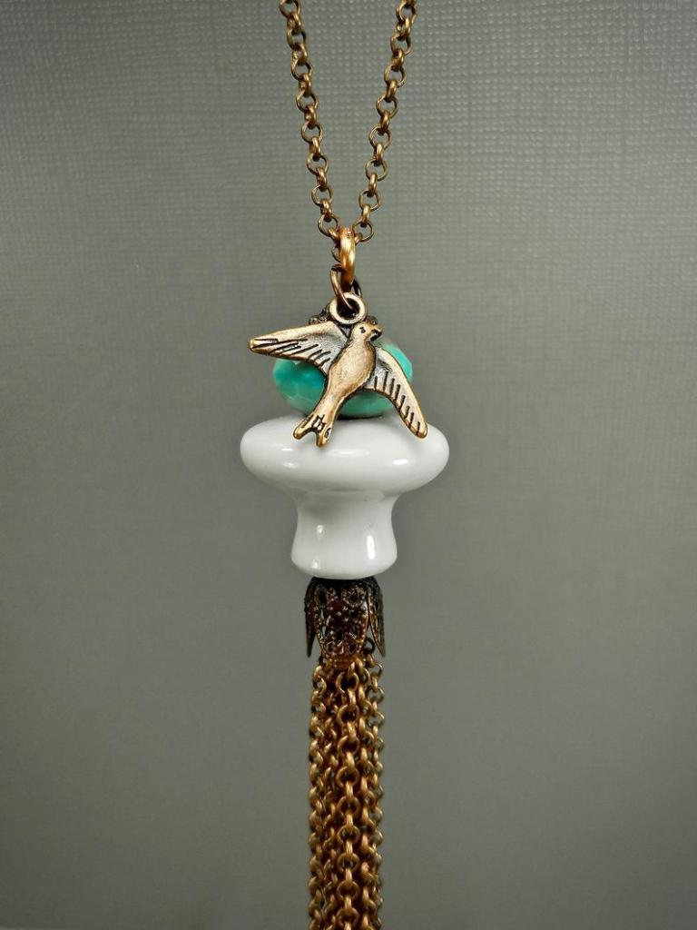 Long ceramic knob necklace with bird charm