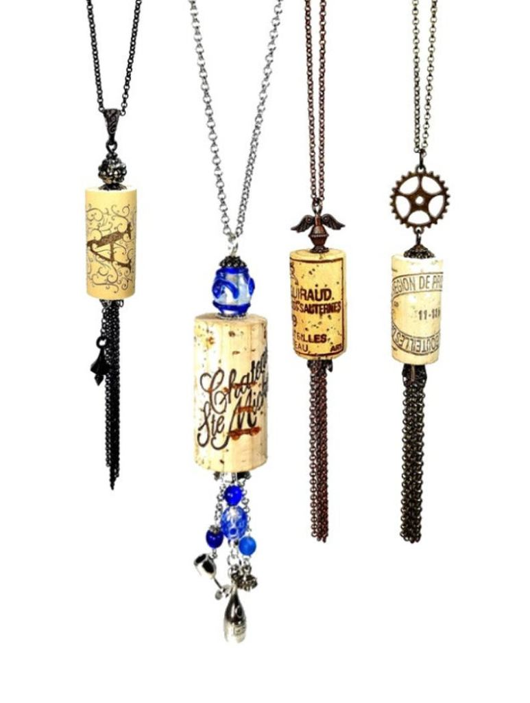 long wine cork necklaces