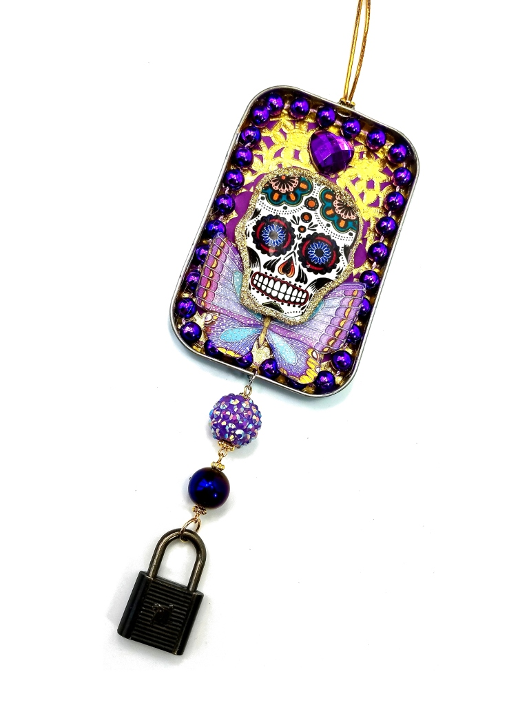 purple sugar skull ornament