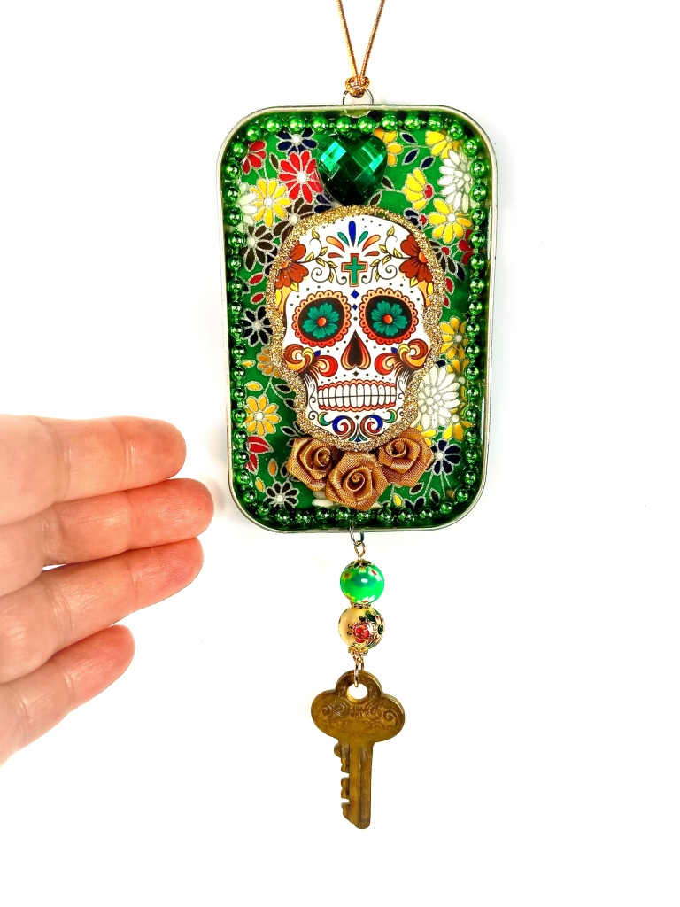 Green sugar skull ornament