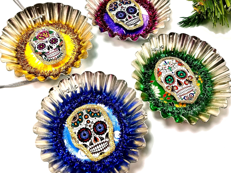 Christmas Skull Tin Ornaments