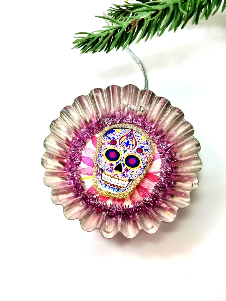 Pink sugar skull ornament