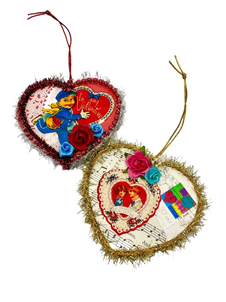 Shabby style Valentine ornaments