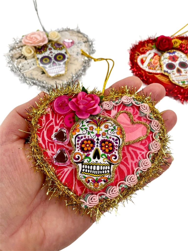 sugar skull heart ornaments