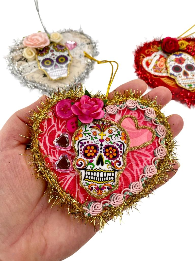 sugar skull heart ornaments