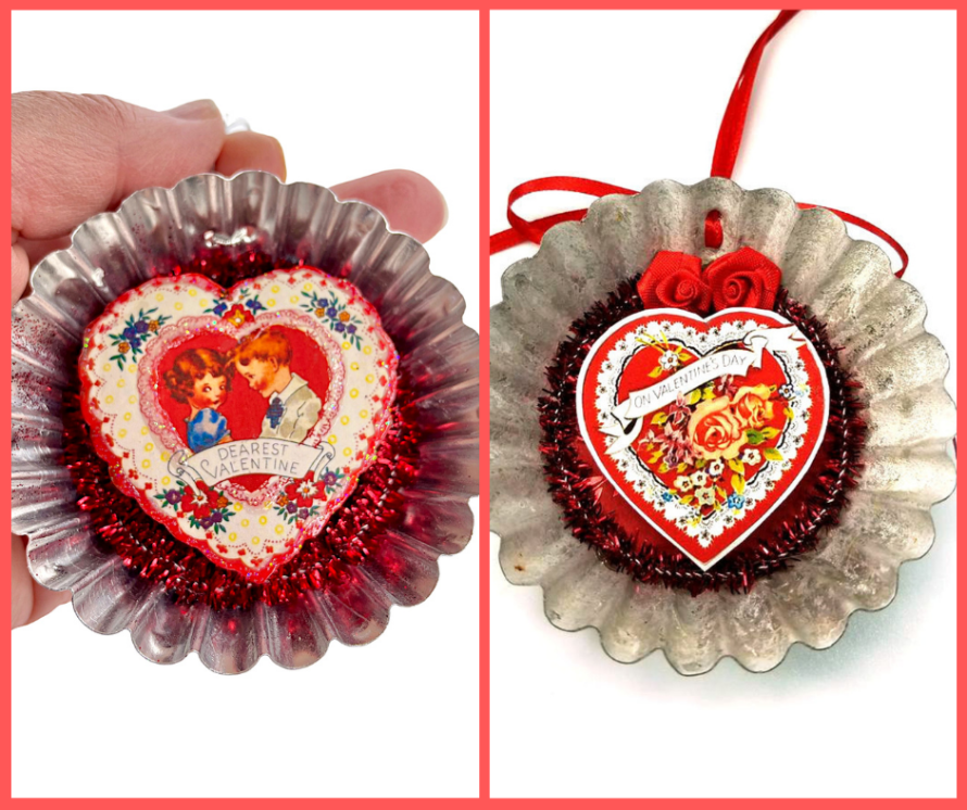 Tart tin heart ornaments