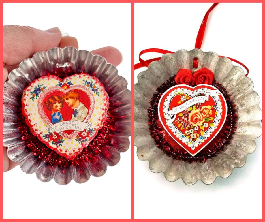 Tart tin heart ornaments