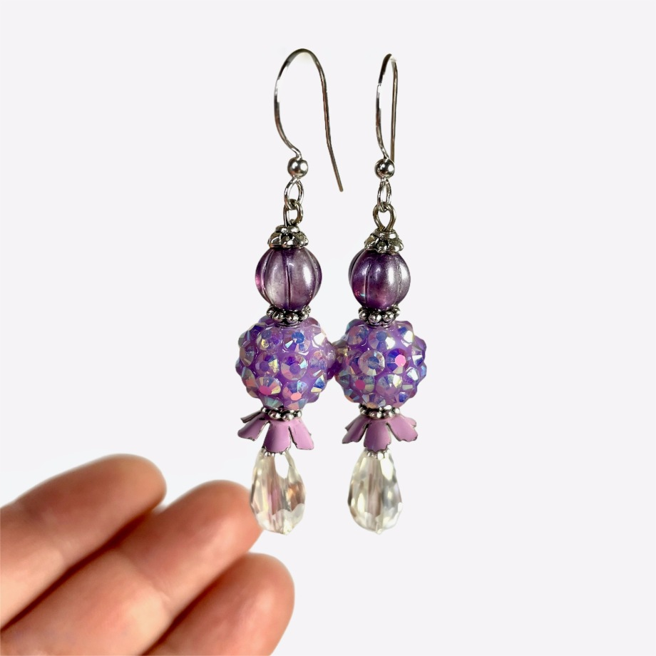 Sparkly vintage lavender dangle earrings