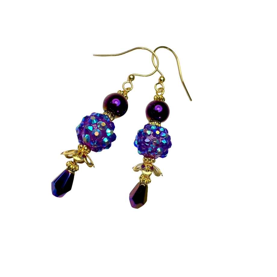 Sparkly deep purple dangle earrings