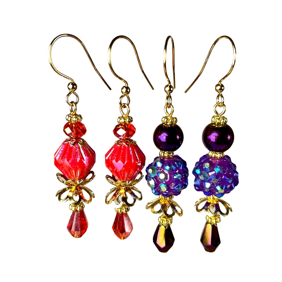 red and purple dangle earrings