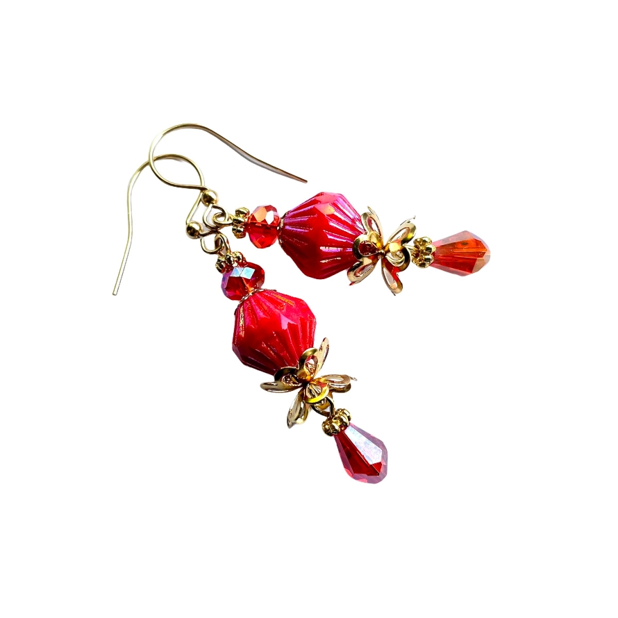 vintage inspired red dangle earrings