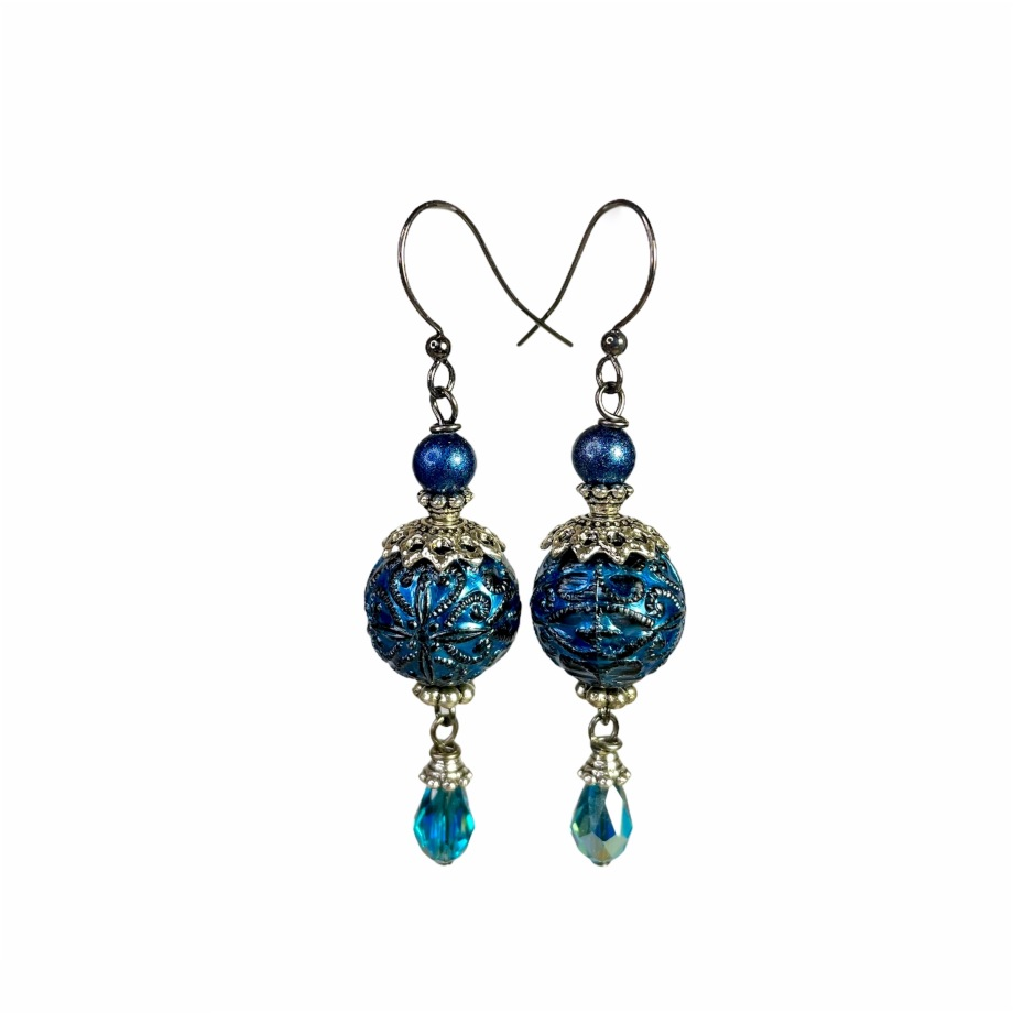 Teal blue dangle earrings