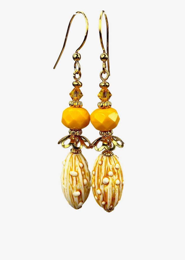 Retro yellow dangle earrings with vintage beads by BluKatDesign on Etsy