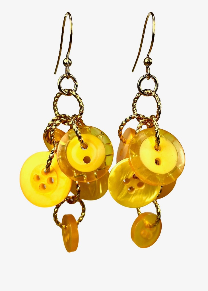 Yellow button dangle earrings