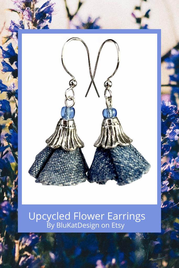 Bluebell flower upcycled denim earrings